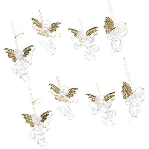 ABOOFAN 8pcs Christmas Hanging Angels Decorations Clear Angels Ornaments Christmas Tree Hanging Decorations Mini Angels Figurine Seasonal Holiday Xmas Party Supplies Favors Goody Bags Fillers