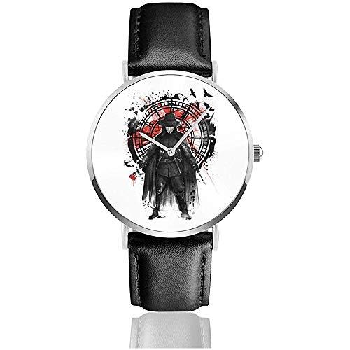 Unisex Business Casual VFür Vendetta Remember The Fifth of November Uhren Quarz Leder Uhr