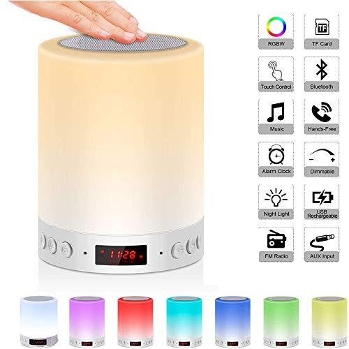 5 en 1 lámpara de noche recargable portátil con luz de noche, lámpara de mesa Bluetooth altavoz Música USB Reloj despertador Luz colorida , regalo para hombres / mujeres / niños (Rainbow-2)
