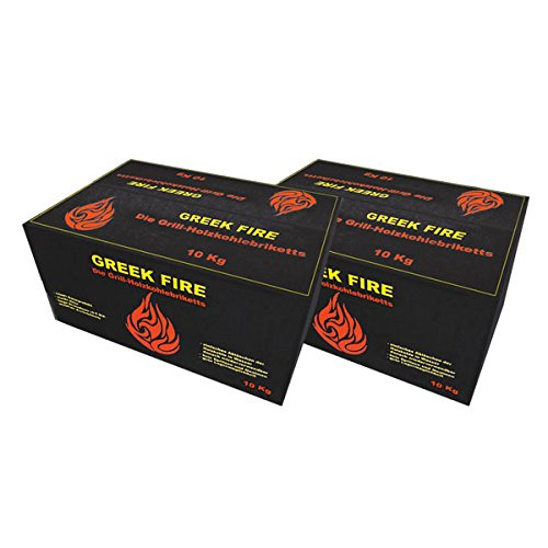 GREEK FIRE Premium Grill Holzkohlebriketts 2 x 10 Kg