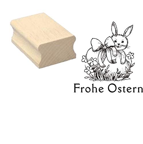Stempel Frohe Pasen 03 – paashaas ei – ca. 40 x 40 mm.
