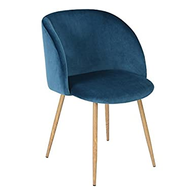 EGGREE Mid Century Velvet Living Room Accent Armchair, Modern Leisure Chair Club Chair with Strong Steel Legs for Bedroom Reception Room Accent Furniture,Blue