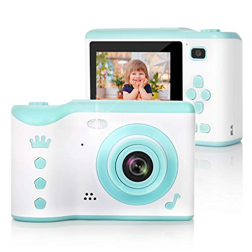 Kids Camera, 8.0MP Digital Dual Camera Rechargeable Shockproof Camcorder Camera with 2.8 Inch Touch Screen,32GB SD Card Included, Ideal Gift for 3-12 Years Old Girls Boys Party Outdoor(Green)