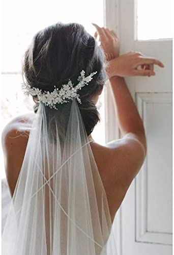 New 2m Cut Edge Comb White Long Veils Layer One Award Bead Bridal Lace Sales
