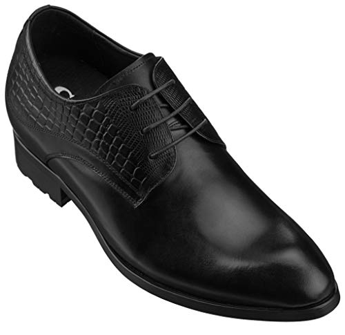 CALTO Mens Elevator Shoes 3 Inches Taller - Height Increasing Black Dress Oxfords - A329011 - Discreet Heels Insole Built-in - A329011 - Size 11.5 D US