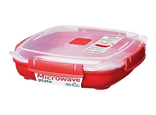 Sistema Microwave Platte mit herausnehmbarem Dampfeinsatz, 880ml, rot/transparent