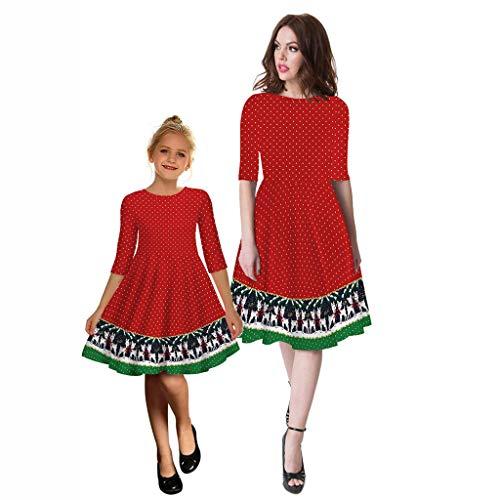 Weihnachtskleid Für Familie UFODB Mutter Und Ich Mädchen Frauen Weihnachten Langarm Kleid Kleidung...