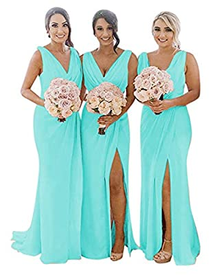 Bridesmaid Dresses Pleated Chiffon Split V-Neck Long Formal Gown for Beach Wedding Tiffany 14
