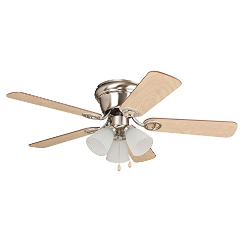 Litex WC42BNK5C3F Wyman Collection 42-Inch Ceiling Fan with Five Reversible Ash/Walnut Blades and Three Light Kit with Frosted Glass
