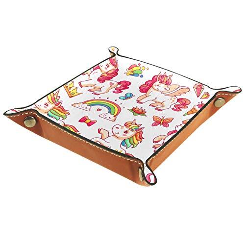 Bandeja de valet Organizador de escritorio Caja de almacenamiento Bandeja de recogida de unicornio volador rosa de cuero para uso doméstico