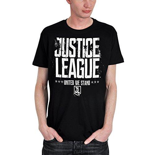 Liga de la Justicia para Hombre de la Camiseta de United We Stand Negro de algodón DC Comics Elbenwald - S