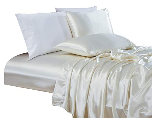 Chezmoi Collection 4-Piece Bridal Satin Solid Color Sheet Set (Queen,...