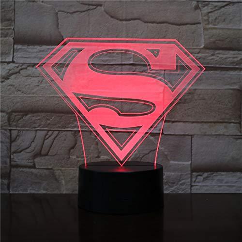 Superman Fledermaus Superheld Mann Logo Usb Cartoon Superheld Jungen Geburtstag 3D LED Nachtlicht Tischlampe Nachttisch Dekoration Kinder Geschenk