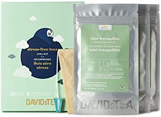DAVIDsTEA Stress-Free Tea Variety Pack, 3 Premium Loose Leaf Teas for Stress Relief and Relaxation, with 10 Tea Filters, 75 g / 2.7 oz