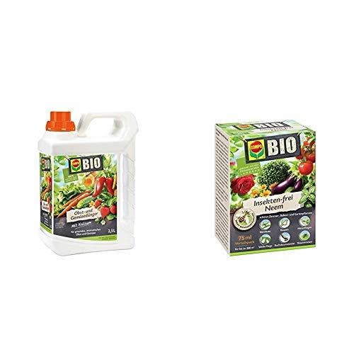 COMPO BIO Obst- und Gemüsedünger für alle Obst- und Gemüsesorten, 2,5 Liter & BIO Insekten-frei Neem, Bekämpfung von Schädlingen an Zierpflanzen, Kartoffeln, Gemüse und Kräutern, 75 ml, 300m²