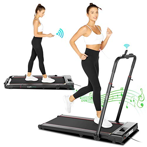 2.0HP Folding Treadmill,2-in-1 Desk Treadmill Small Treadmill for Home Apartment 7.45 MPH Max Speed, Bluetooth Speaker, APP/Remote Control