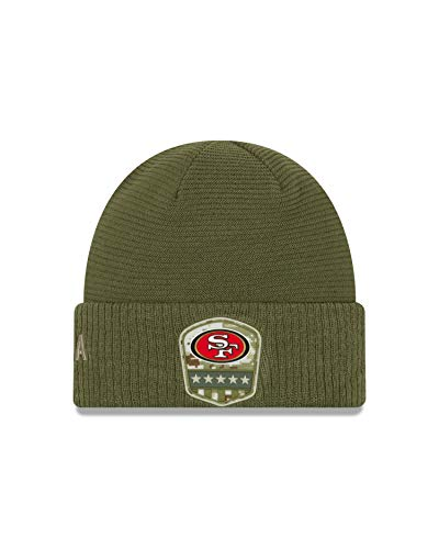 New Era San Francisco 49ers Beanie On Field 2019 Salute to Service Knit Olive - One-Size