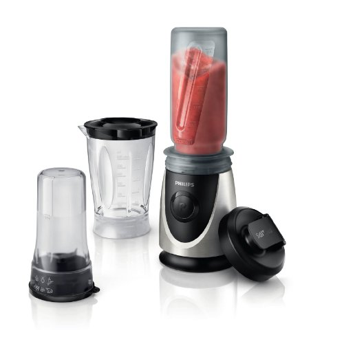 Philips HR2876/00 Mini Standmixer (350 W, Smoothiemaker 20500 U./Min, 4 Messer, inkl. Trinkbecher) chrom