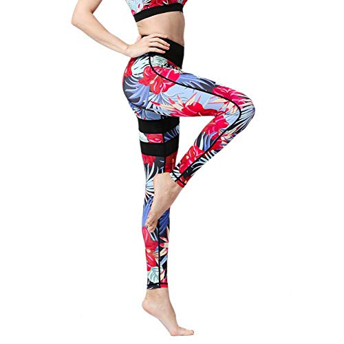 YUJIAKU Yogahosen Hohe Taille Push Up Sexy Print Flex Leggings für Fitness Frauen Training Laufen Gym Femme Strumpfhosen Sportbekleidung Legency