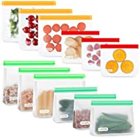 UOON Reusable Food Storage Bags, Leakproof Freezer Bags to Keep Fresh Longer, Upgraded and Durable Sandwich Bags for...