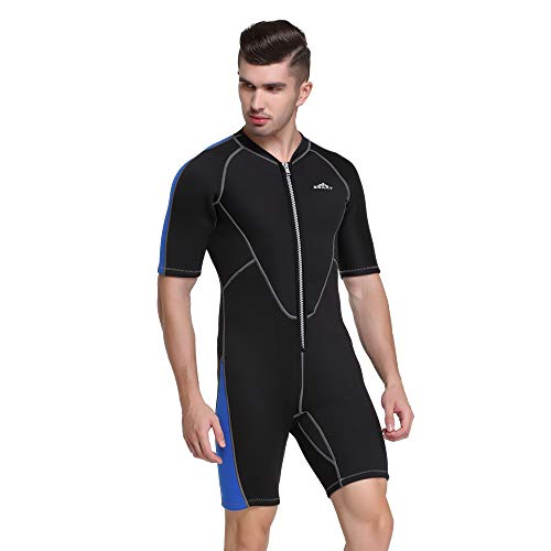 Damen Herren Kurz Ärmel 2mm Tauchanzug One Piece Sonnenschutz Badeanzug Modern Design Quick Dry (XXXL, Herren)