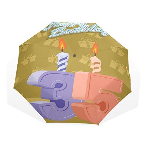 LASINSU Mini Ombrello Portatile Pieghevoli Ombrello Tascabile,Stampa di candele artistiche di compleanno,Antivento Leggero Ombrello per Donna