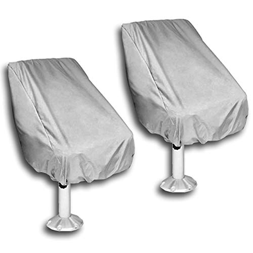 WOMACO 2 Pack Boat Seat Cover, Outdoor Waterproof Pedestal Pontoon Captain Boat Bench Chair Seat Cover, Oxford Fabric Helm Chair Protective Covers (Silver, 2 Pack)