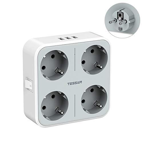 TESSAN Enchufes USB, Enchufes de 4 Vías con 3 USB (3A), Adaptador de Enchufe 7 en 1 con Enchufe Múltiple Cargador USB, Enchufe USB Enchufe Pared USB Teléfono Portátil, Ladron Enchufes USB Gris