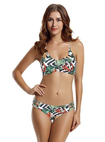 zeraca Women's Strap Side Bottom Halter Racerback Bikini Swimsuits (FBA) Large 12-14 Stripe Flower