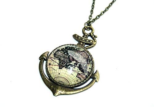 CHRISTMAS SALE – Handmade Weltkarten Globus Anker Kette, 70cm, bronze, süsse handgefertigte Freundschaftskette für die liebste Schwester, beste Freundin und alle Reiselustigen