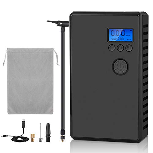 Air Compressor Tire Inflator, Portable Car Tire Pump with Digital Pressure Gauge 2000mAh Rechargeable Battery, Electric Cordless Air Pump for Car, Motorcycle, Bicycle, Balloon and More