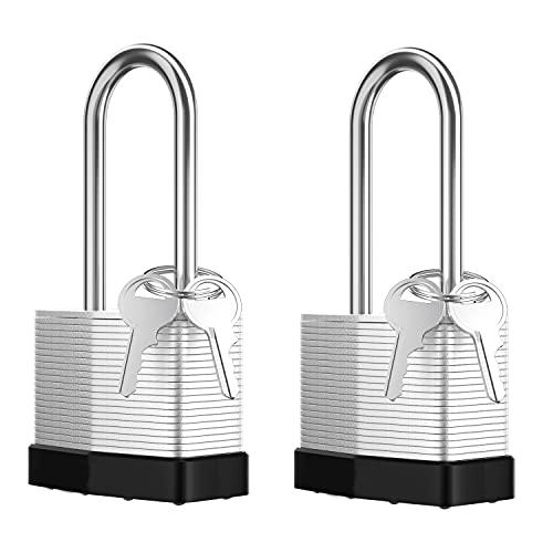 "K.C Laminated Steel Key Lock,1-9/16"" Wide Body,2 Padlocks of Short Shackles with 4 Keys. (2)"
