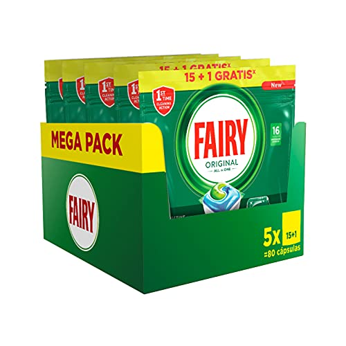 Fairy Original All in One, Pastillas Lavavajillas, 80 Cápsulas (5 x 16), Mega Pack