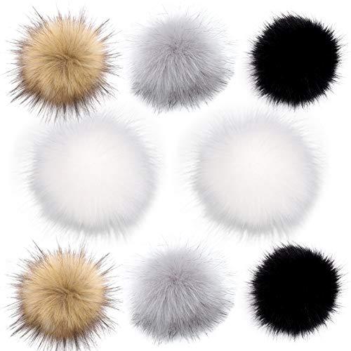 Faux Pelz Pompom Kunstfell, Abnehmbare Fellbommel Grau Mit Druckknopf Flauschige Fellkugeln für Mütze, Schal, Handtasche und Schuhe