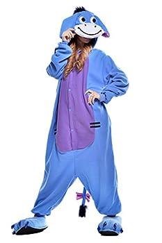VU ROUL Halloween Costume Men Outfit Eeyore Onesie Adult Pajamas XL Blue