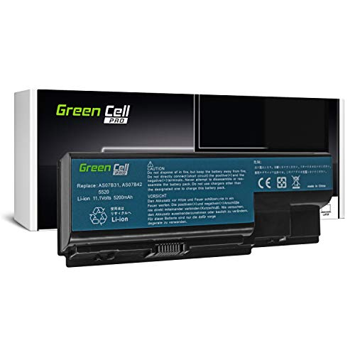 Green Cell PRO Series Battery for Acer Aspire 5220 5230 5300 5310 5315 5320 5520 5530 5710 5720 5720Z 5730ZG 5739 5739G 5920 5920G 5930 Laptop (Original Samsung SDI Cells, 6 Cells, 5200mAh, Black)