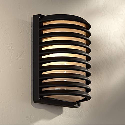 Modern Outdoor Wall Light Fixture Sleek Black Banded Grid 10