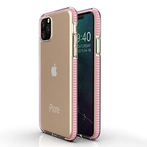 Yughb 11 Caja del teléfono MAX Pro Caja del teléfono iPhone 11Pro for el iPhone Caja Protectora 11 Pro TPU Bicolor Gota a Prueba cáscara Impermeable de Silicona (Color : Girl Pink)