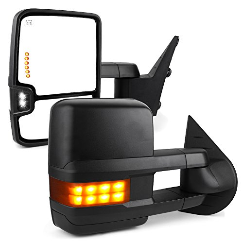 YITAMOTOR Towing Mirrors Compatible for Chevy GMC, Power Heated LED Arrow Signals Reverse Lights Tow Mirrors, for 2007-2013 Silverado Sierra, 2014 Silverado 2500HD 3500HD