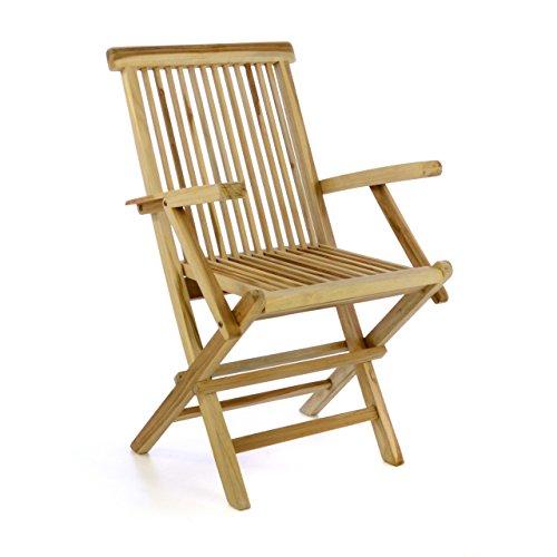 Divero Gartenmöbel-Set Terrassenmöbel-Garnitur Sitzgruppe – Esstisch 120/170 cm ausziehbar & 4 x Klappstuhl mit Armlehne – Teakholz massiv Natur Bild 4*