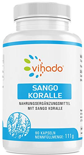 Vihado Sango Meereskoralle Kapseln – Calcium Magnesium Komplex aus natürlicher Quelle – nährstoffreiches Nahrungsergänzungsmittel mit Mineralien – geprüft schadstofffrei und vegan – 90 Kapseln