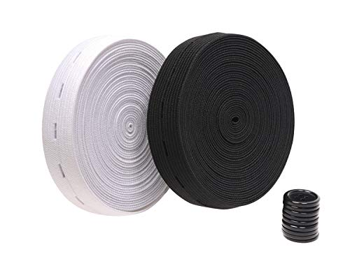 Penta Angel 2 Colors Elastic Sewing Bands 11 Yards 3/4 Inch Flatback Black and White Sewing Bands Spool with Buttonhole, Knit Stretch Cord Belt with 10Pcs 18mm Black Resin Button (3/4')