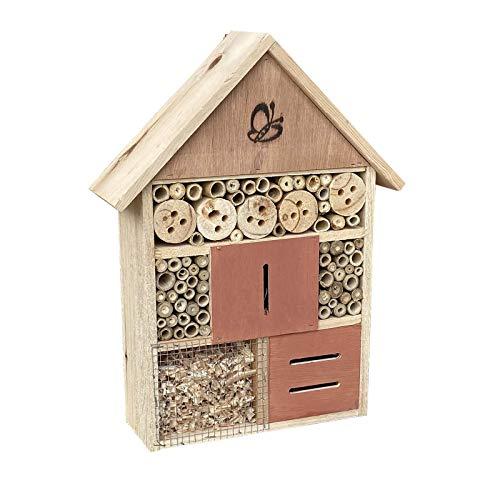 Insektenhotel hängend 275 x 90 x 410 mm, naturbelassene Nisthilfe für verschiedene Insekten