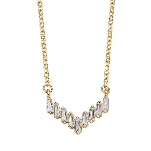 s925 Collar de Plata 18k Chapado en Oro Cadena de clavícula Personalidad Creatividad