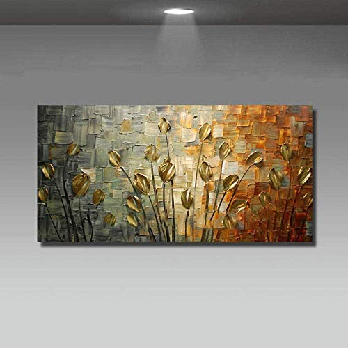 DYHDQ Handgemalte Leinwand Ölgemälde Home Einzigartige Geschenkmesser Blumen Wandkunst Dekoration Abstrakt Wohnzimmer Kunst Bild Landschaft Leinwand Gemälde Abstrakt 100X200Cm