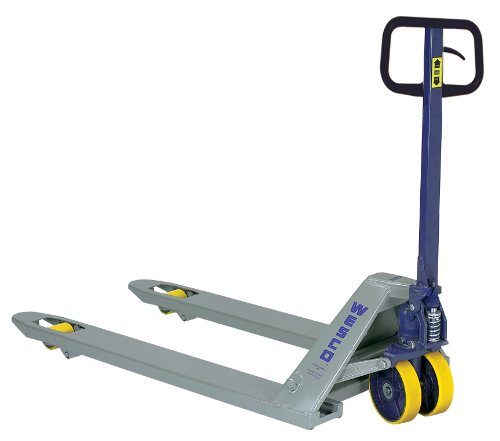 Wesco Industrial Products 272148 Standard Deluxe Pallet Truck with Handle, Moldon Polyurethane Wheels, 5500 lb. Load Capacity, 63' Length x 21' Width x 48' Height