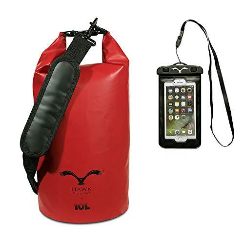 HAWK OUTDOORS Dry Bag - wasserdichter Packsack mit gepolsterten Schulter-Gurten inklusive...