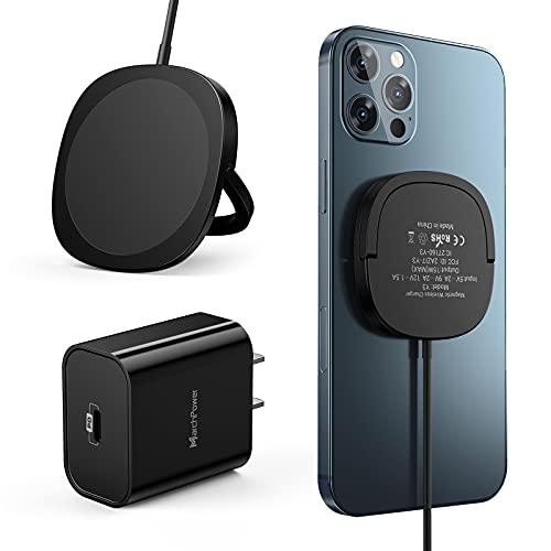 Cargador Inalámbrico Magnético,Marchpower Cargador Rápido iPhone Cable 1M con Panel Magnético+PD 20W Cargador USB C Carga Rapida Compatible con iPhone 12/12 mini/12 Pro/12 Pro MAX/AirPods Pro-Negro