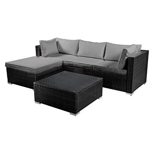 BRAST Poly-Rattan Gartenmöbel Lounge Set 15 Modelle 3 Farben 4-12 Personen Aluminium Sitzgruppe ROYAL Grau - 5