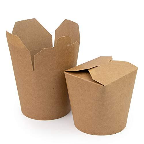 Extiff Lot de 50 Boites en Carton Pasta Box pour Nouilles Pâtes Plats Cuisinés Plats Asiatiques et Orientaux Vente à Emporter 100% Recyclable (Marron, 780 ML)
